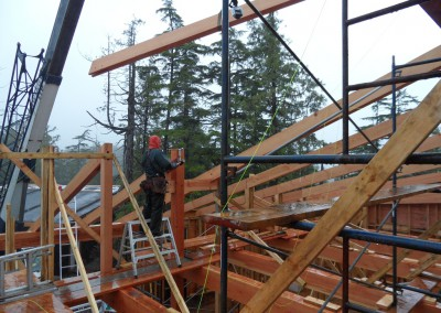 Off Grid Forest Home_Beam Raising Day 2